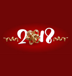 christmas greeting card 2018 lettering red vector image
