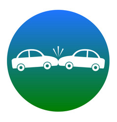 crashed cars sign white icon in bluish vector image vector image