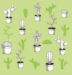 desert plants hand drawn background vector image