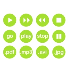 Play button or flat green web icon set vector image vector image