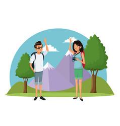 Traveler couple mountain landscape vacation vector