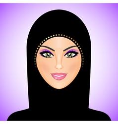 arab woman purple smile vector image