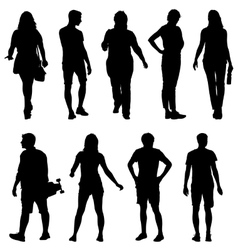 Black silhouettes of beautiful man and woman on vector image vector image