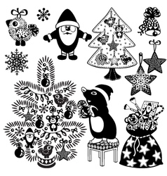 christmas set black white vector image vector image