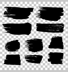 grunge black rough brush strokes set vector image