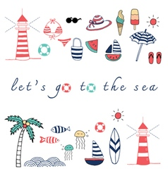lets go to the sea vector image