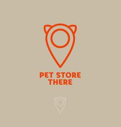 logo pet store cat map marker vector image