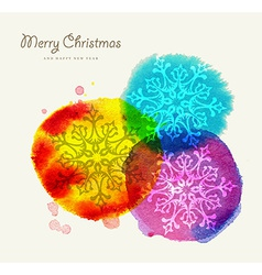 Merry Christmas watercolor greeting card vector image