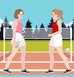 two woman play volley ball active sport vector image vector image