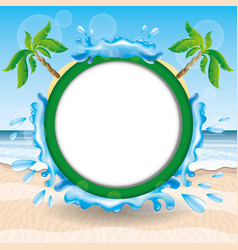 A round frame with palm trees vector