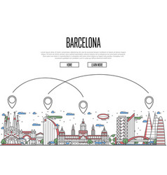 air travel to barcelona poster in linear style vector image vector image
