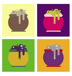 assembly flat icons halloween witches cauldron vector image vector image