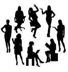 business woman and secretary silhouettes vector image
