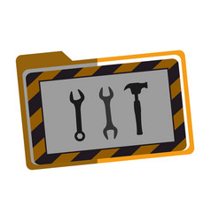 Folder with wrench and hammer key tool icon vector