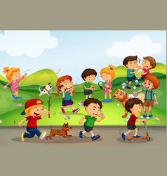many kids playing in the field vector image
