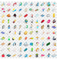 100 entertainment icons set isometric 3d style vector