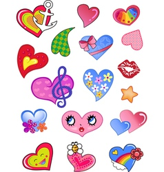 a set of comic hearts vector image
