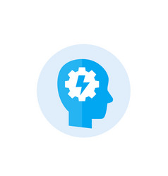 Ability icon with human head and gear vector