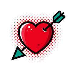 abstract red heart pierced arrow vector image