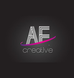 Ae a d letter logo with lines design and purple vector
