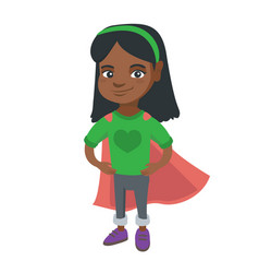 African brave girl wearing superhero costume vector