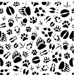 Animal or bird footprints seamless pattern vector