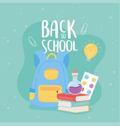 back to school books backpack test tube palette vector image