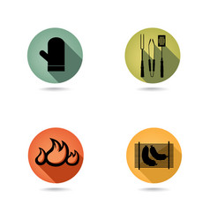 Barbecue icons set bbq food sign party collection vector