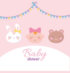 Bashower adorable faces little girl rabbit and vector