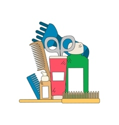 Beauty background with barber shop tools vector