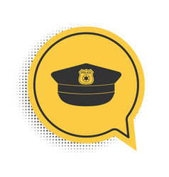 Black police cap with cockade icon isolated on vector