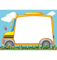 Border design with schoolbus in garden vector