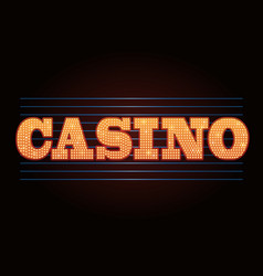 brightly casino glowing retro casino letters neon vector image