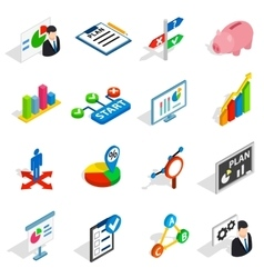 Business plan icons set isometric 3d style vector image