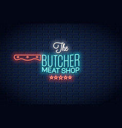 butcher neon sign meat shop neon logo background vector image