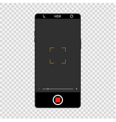 camera screen interface on realistic smartphone vector image