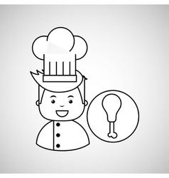 cartoon chef gourmet chicken thigh vector image