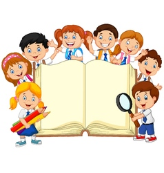Cartoon school children with book isolated vector