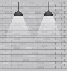 Ceiling lights on grey brick wall background vector