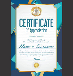 Certificate retro design template 33 vector