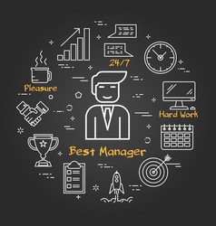 Chalk board - businessman - best manager vector