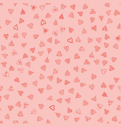 Chaotic doodle hearts seamless pattern - vector