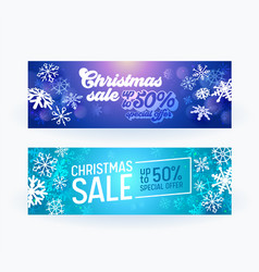 christmas sale banner set xmas design with vector image