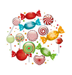 collection candies lollipop design graphic vector image