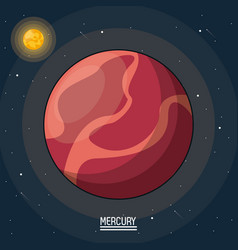 colorful poster of the planet mercury in the space vector image