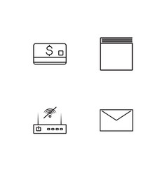 Communication linear icons set simple outline vector