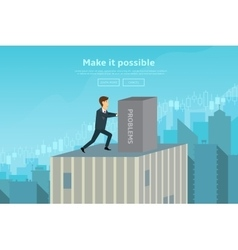 Confident businessman pushing box vector