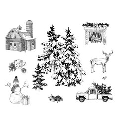 countryside christmas collection vector image