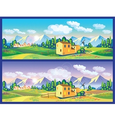 Countryside in the spring and summer vector