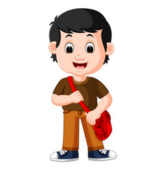 Cute boy with backpack cartoon vector